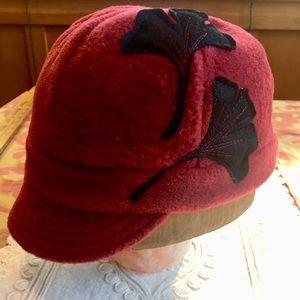 Flipside Brand Fleece hat with ginkgo.